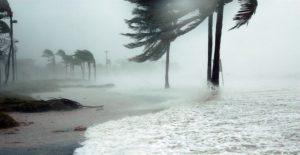 beach during hurricane