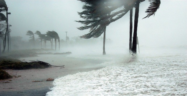 beach during hurricane