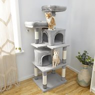61 inch grey Frisco cat tree with two cats