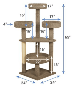 Image of Frisco 65 in cat tree with dimensions
