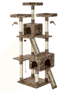 Tall cat tree in cheetah print